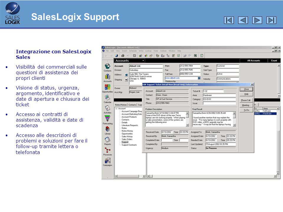 SalesLogix Support Integrazione con SalesLogix Sales