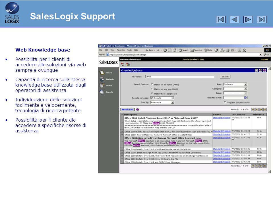 SalesLogix Support Web Knowledge base