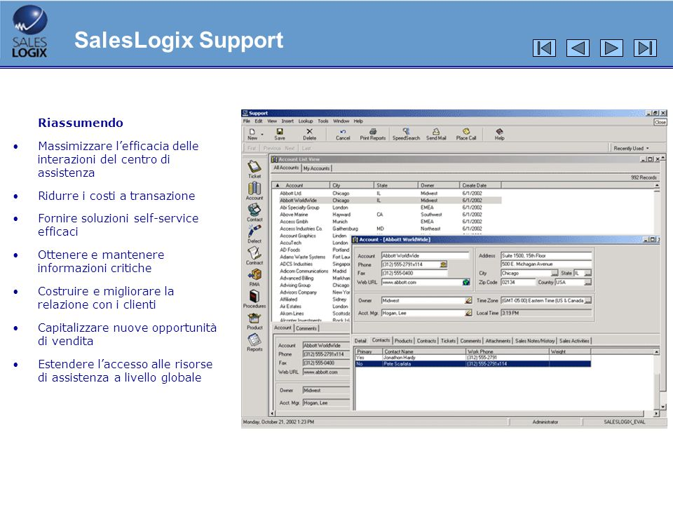SalesLogix Support Riassumendo