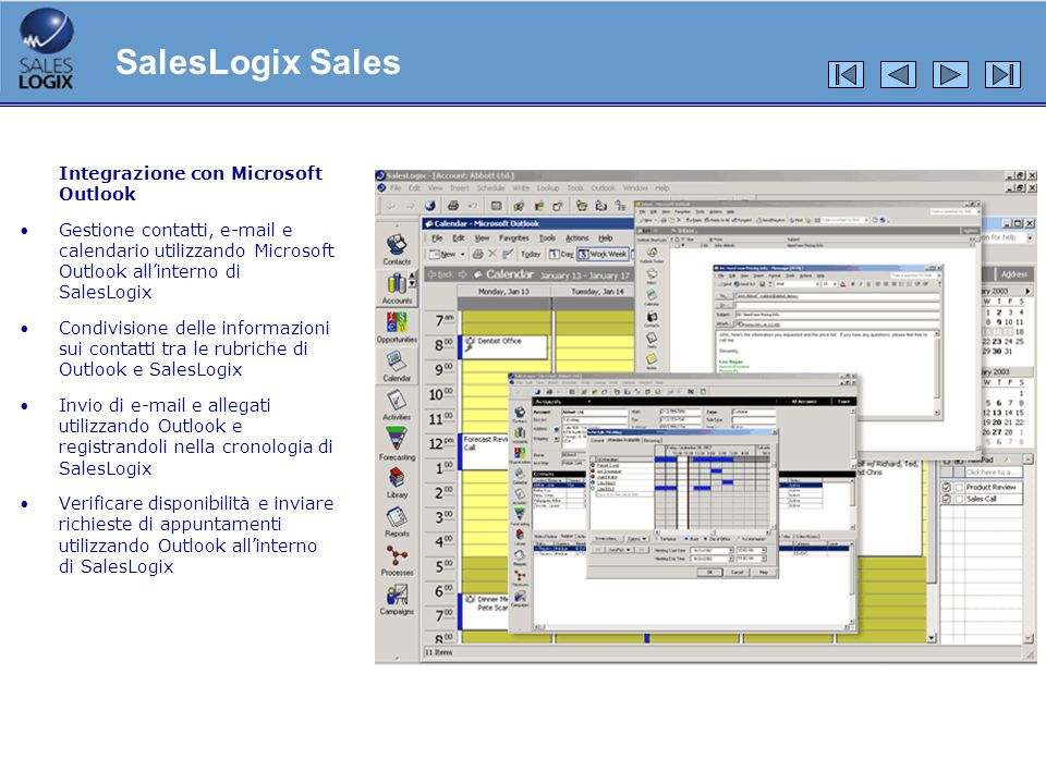 SalesLogix Sales Integrazione con Microsoft Outlook
