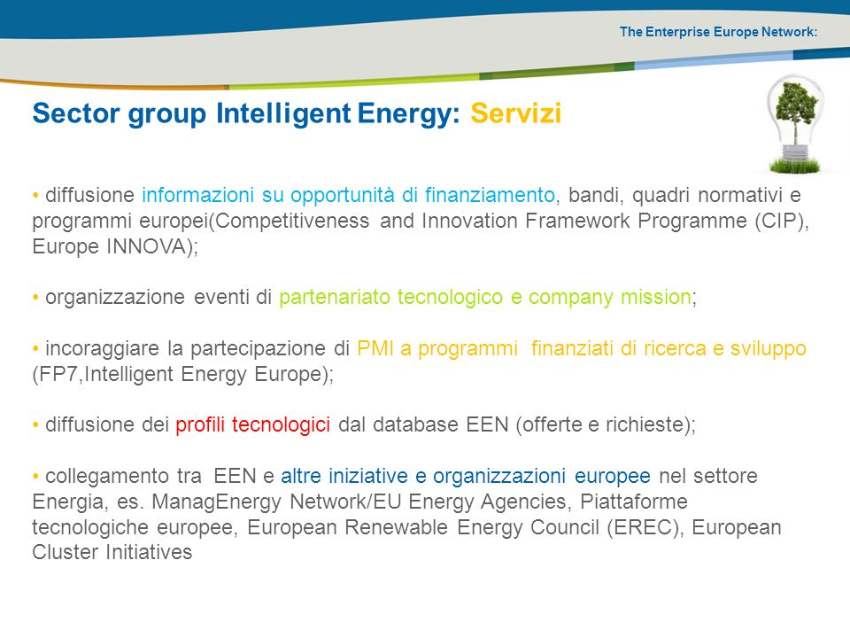 Sector group Intelligent Energy: Servizi
