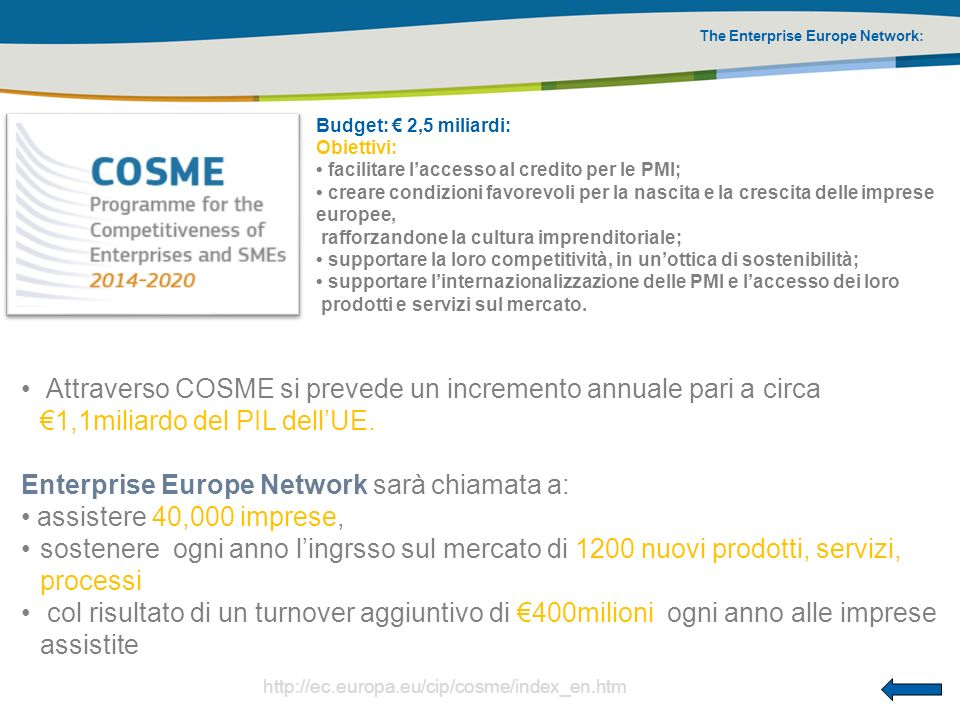 Enterprise Europe Network sarà chiamata a: assistere 40,000 imprese,