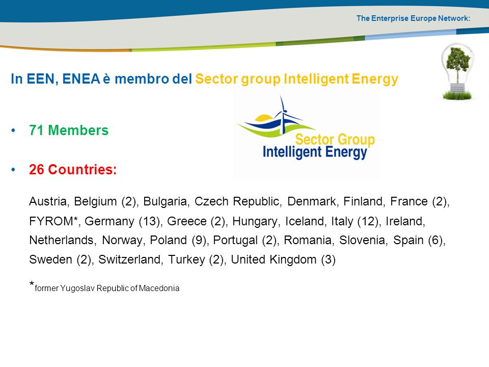 In EEN, ENEA è membro del Sector group Intelligent Energy