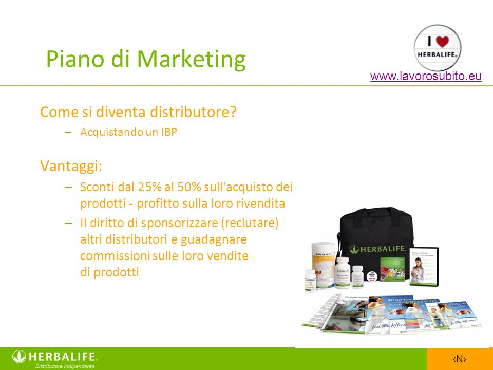 Piano di Marketing Come si diventa distributore Vantaggi: