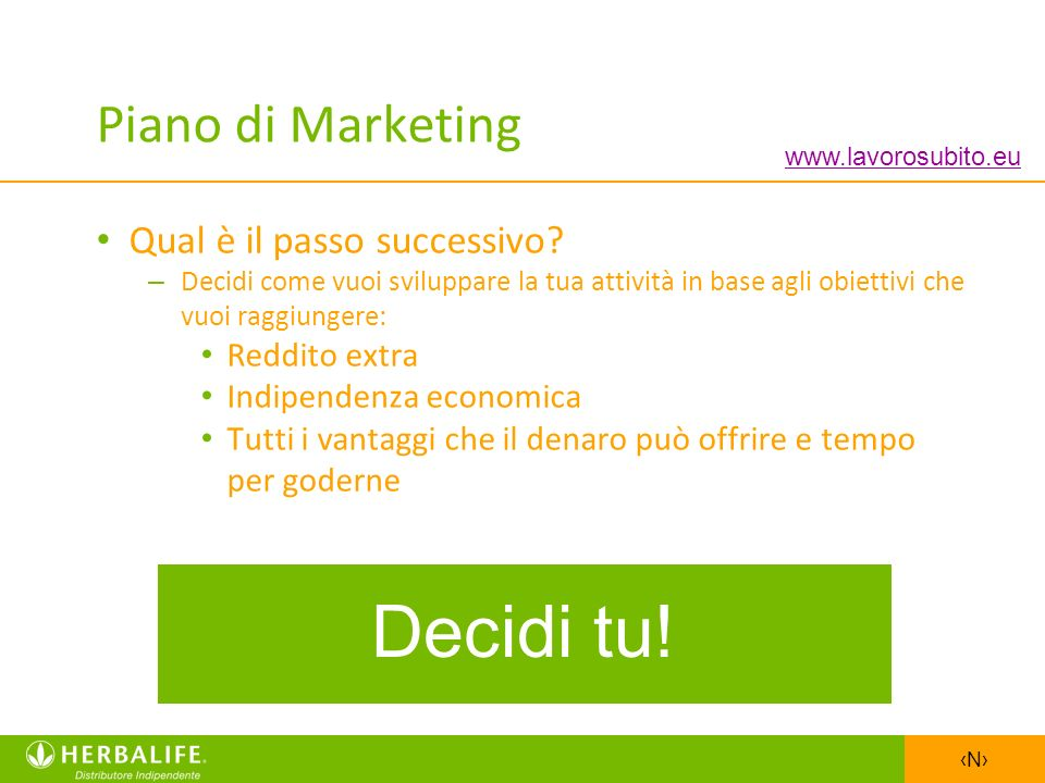 Decidi tu! Piano di Marketing Qual è il passo successivo