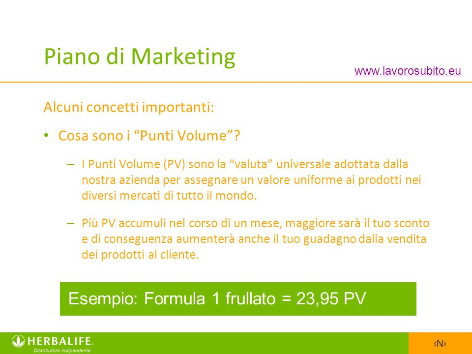 Piano di Marketing Esempio: Formula 1 frullato = 23,95 PV