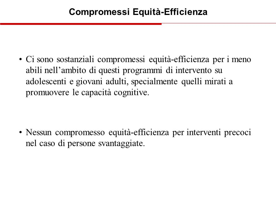 Compromessi Equità-Efficienza