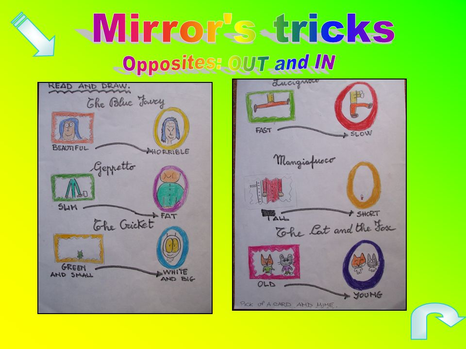 Mirror s tricks Opposites: OUT and IN