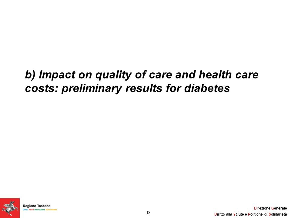 b) Impact on quality of care and health care costs: preliminary results for diabetes