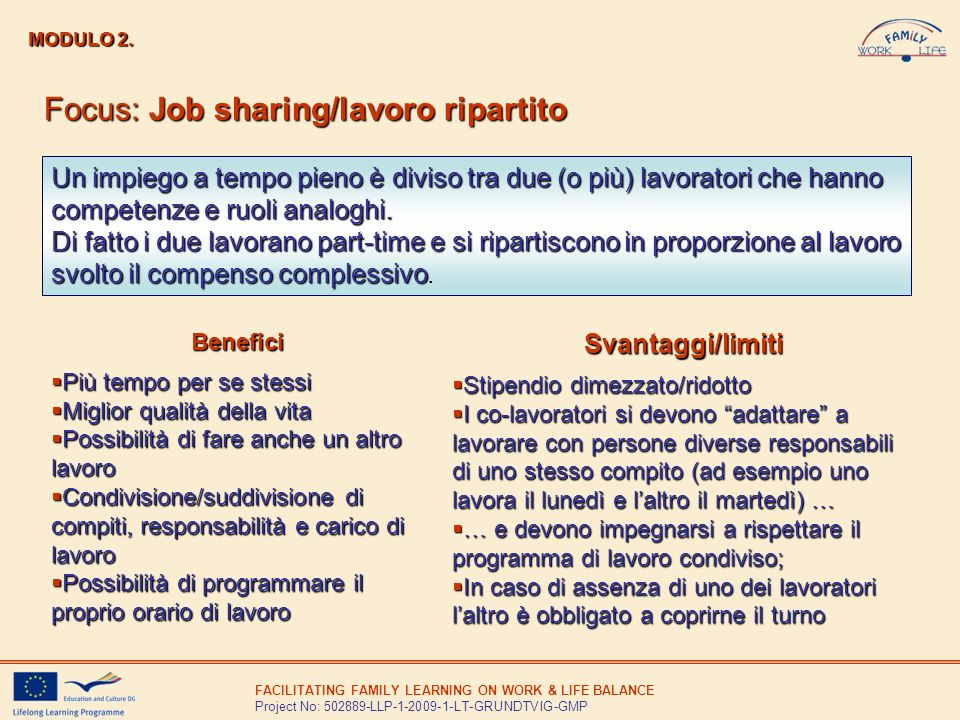 Focus: Job sharing/lavoro ripartito