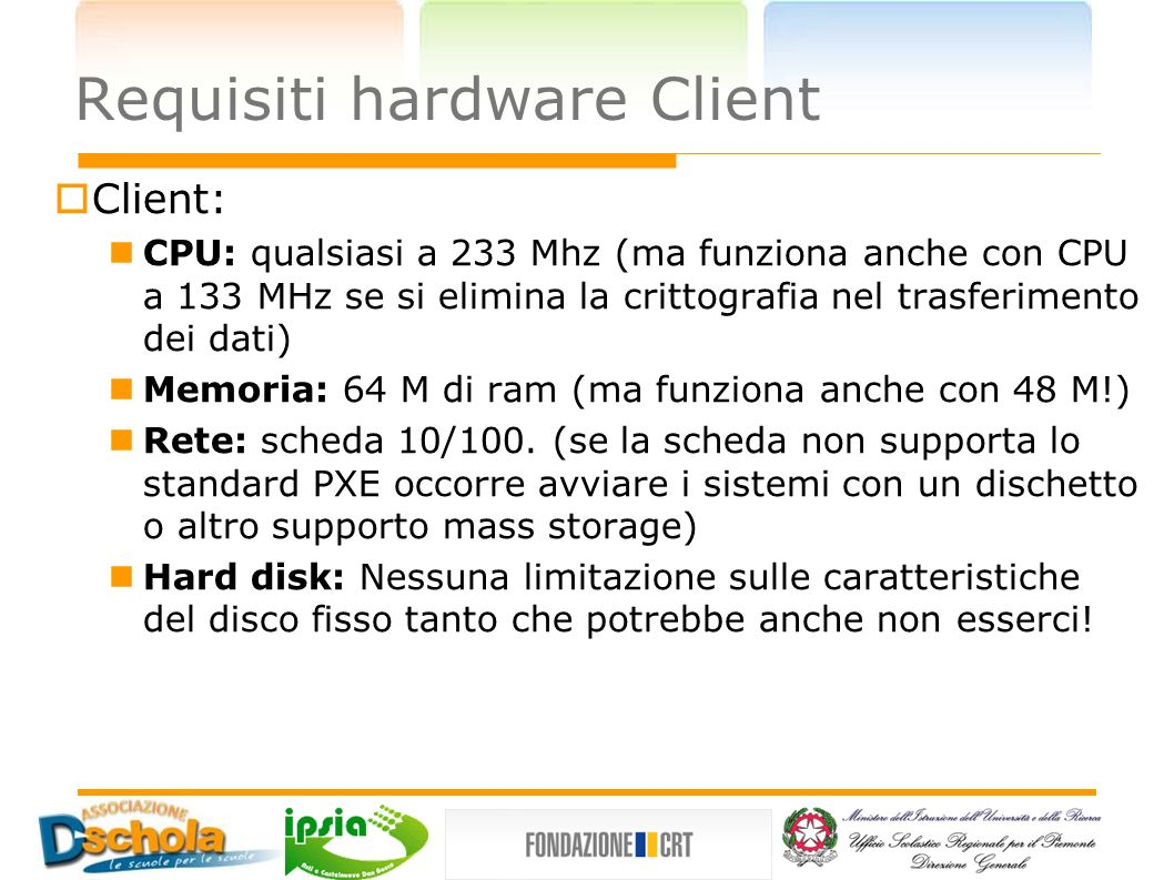 Requisiti hardware Client
