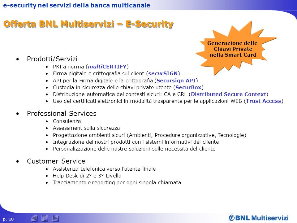 Offerta BNL Multiservizi – E-Security