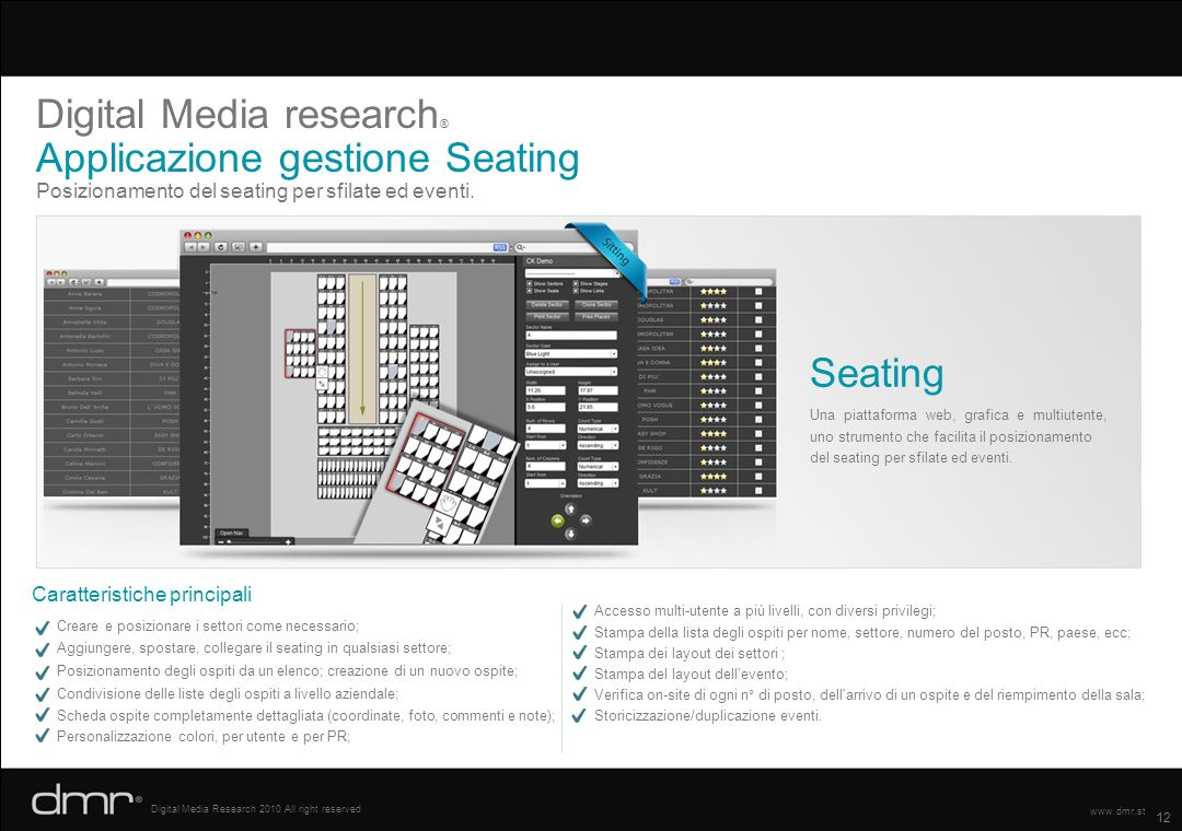 Digital Media research® Applicazione gestione Seating