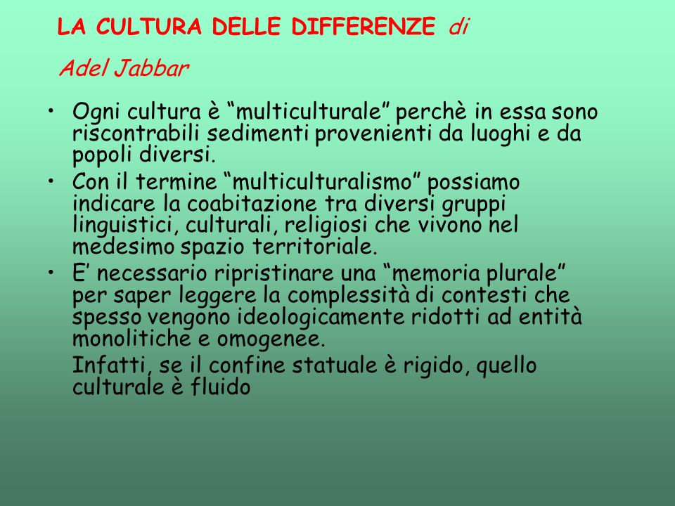 LA CULTURA DELLE DIFFERENZE di Adel Jabbar
