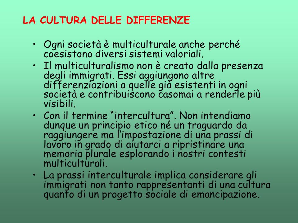 LA CULTURA DELLE DIFFERENZE