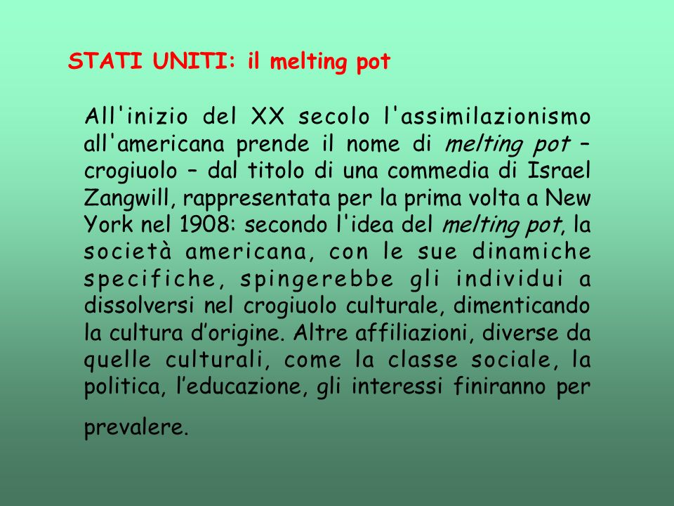 STATI UNITI: il melting pot