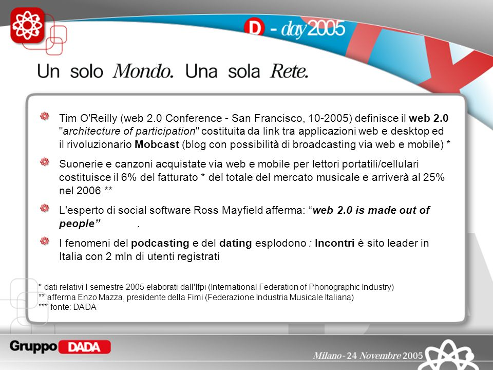 Tim O Reilly (web 2.0 Conference - San Francisco, ) definisce il web 2.0 architecture of participation costituita da link tra applicazioni web e desktop ed il rivoluzionario Mobcast (blog con possibilità di broadcasting via web e mobile) *