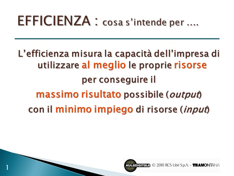 EFFICIENZA : cosa s'intende per ....