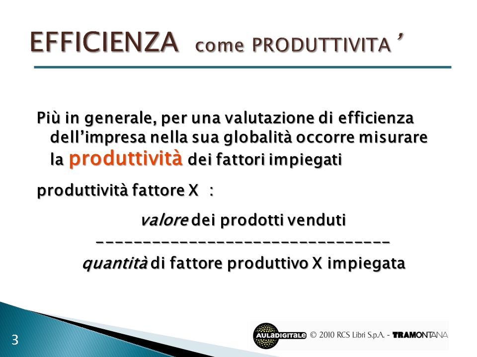 EFFICIENZA come produttivita'
