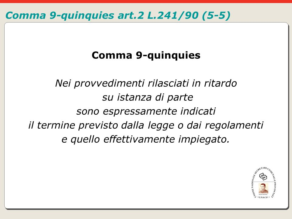 Comma 9-quinquies art.2 L.241/90 (5-5)