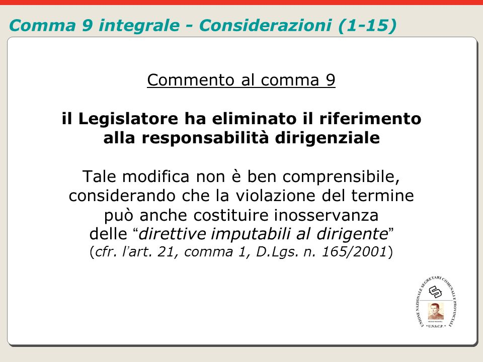 Comma 9 integrale - Considerazioni (1-15)