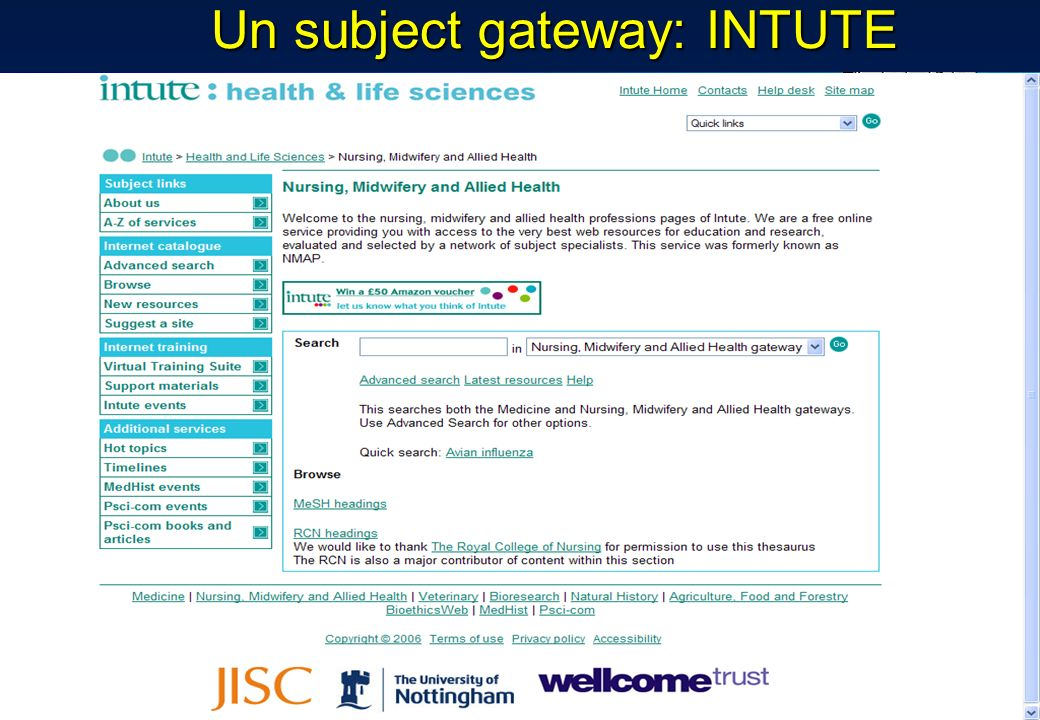 Un subject gateway: INTUTE