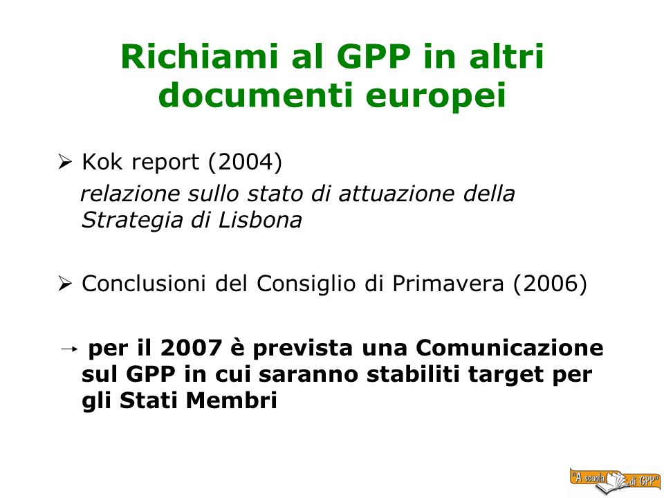 Richiami al GPP in altri documenti europei