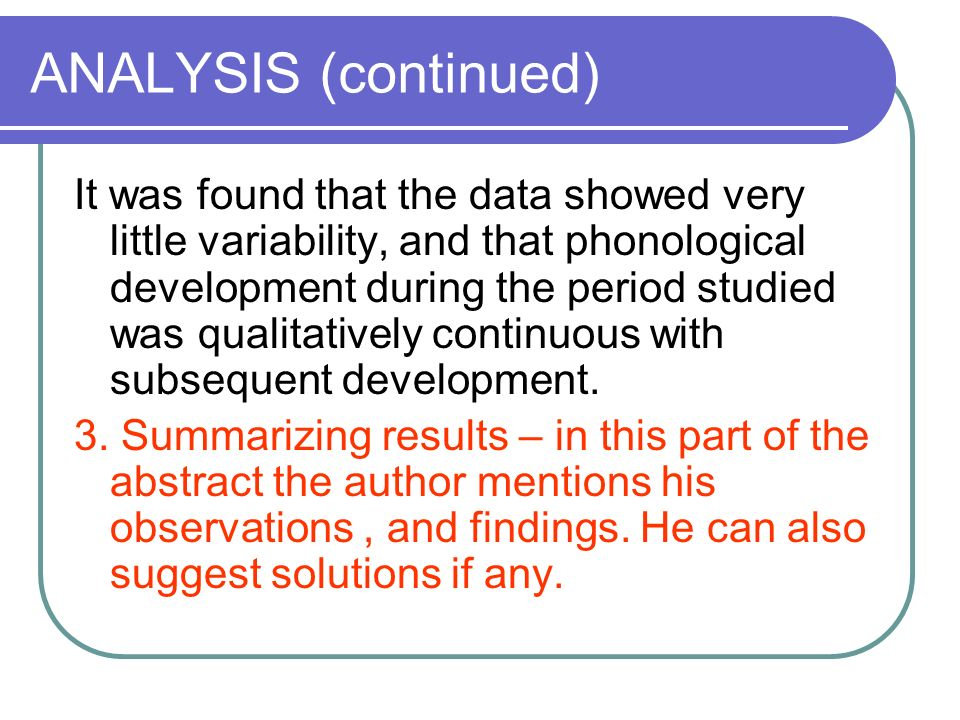 ANALYSIS (continued)
