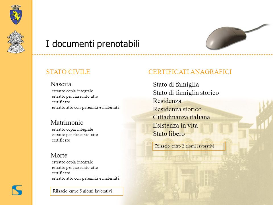 I documenti prenotabili