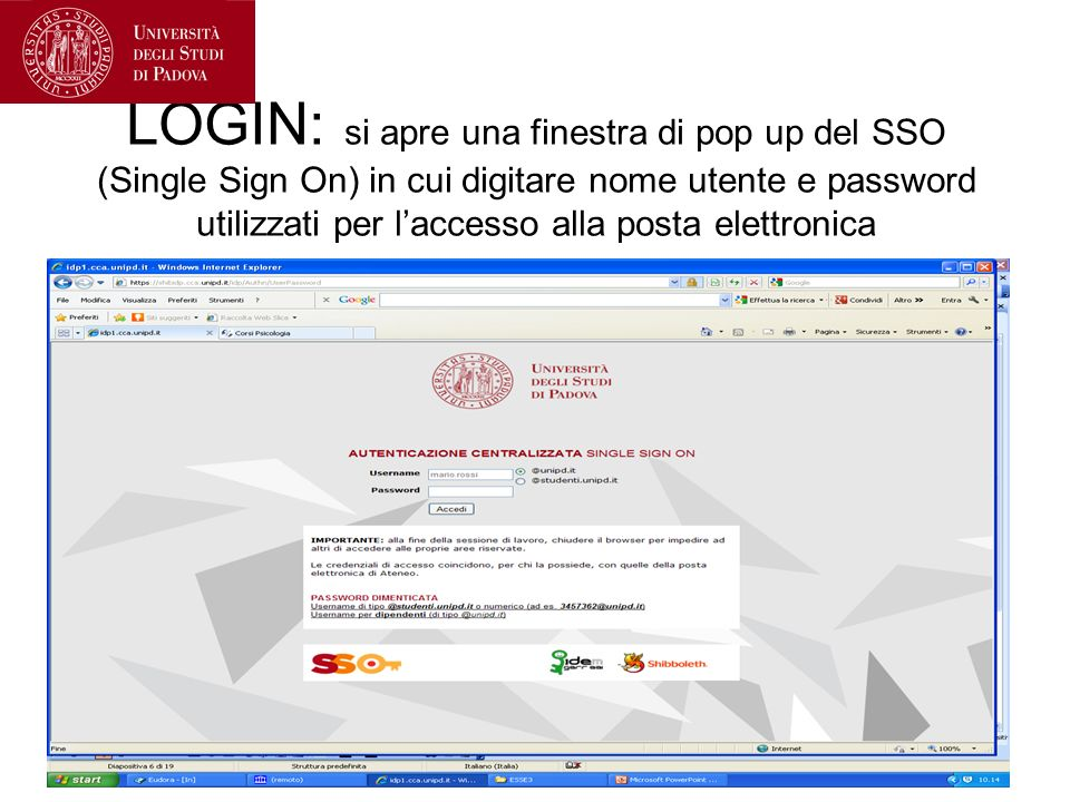 LOGIN: si apre una finestra di pop up del SSO (Single Sign On) in cui digitare nome utente e password utilizzati per l'accesso alla posta elettronica