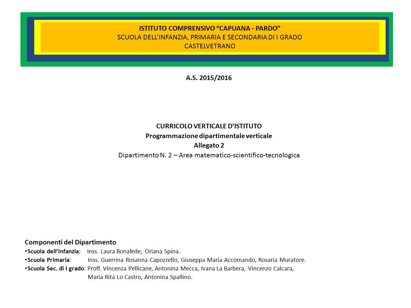 CURRICOLO VERTICALE D ISTITUTO Programmazione Dipartimentale