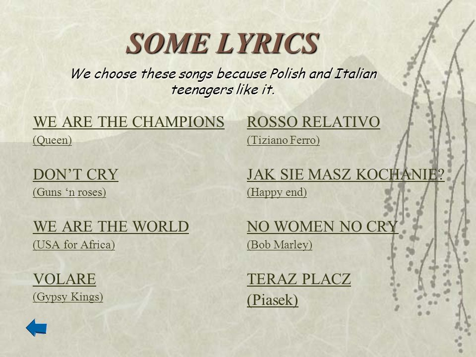 We choose these songs because Polish and Italian teenagers like it.