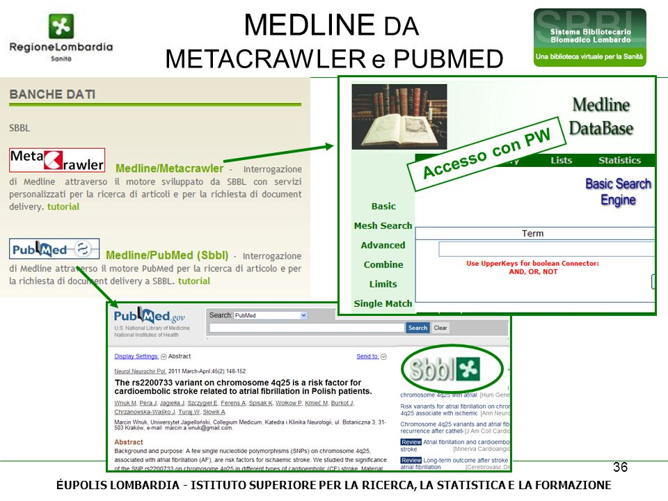 MEDLINE DA METACRAWLER e PUBMED Accesso con PW