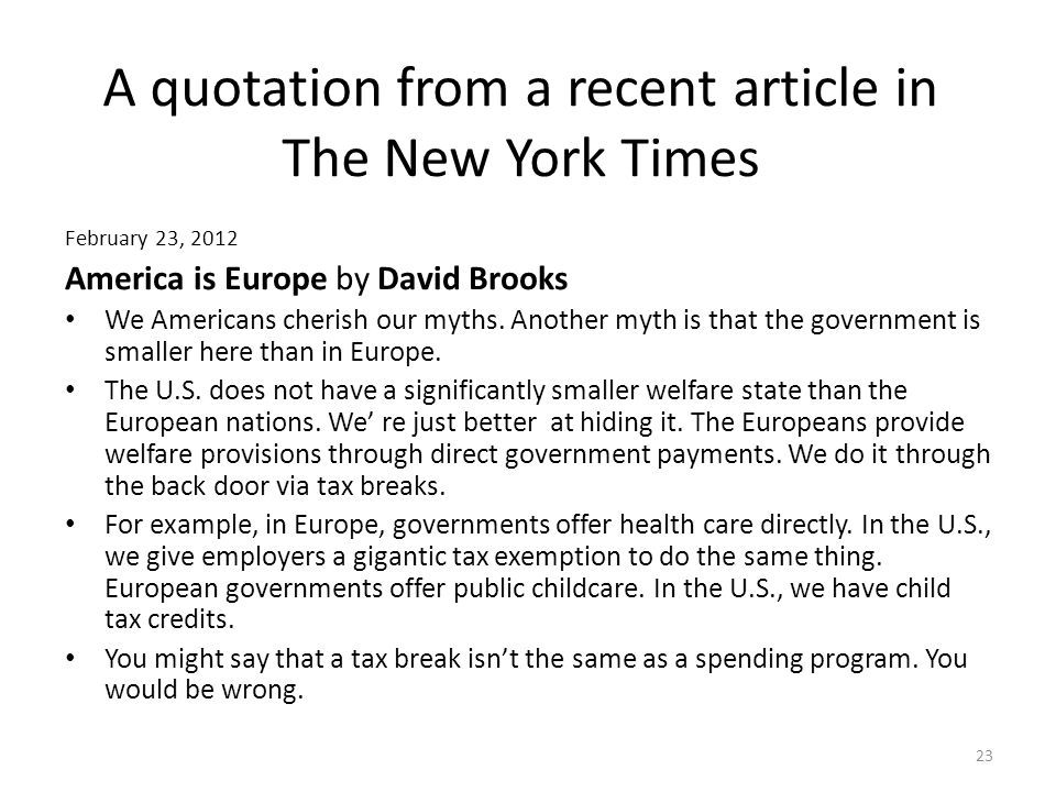 A quotation from a recent article in The New York Times