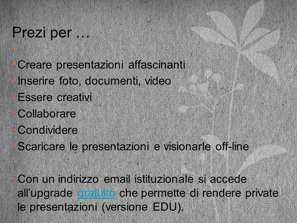 Prezi per … Inserire foto, documenti, video Essere creativi