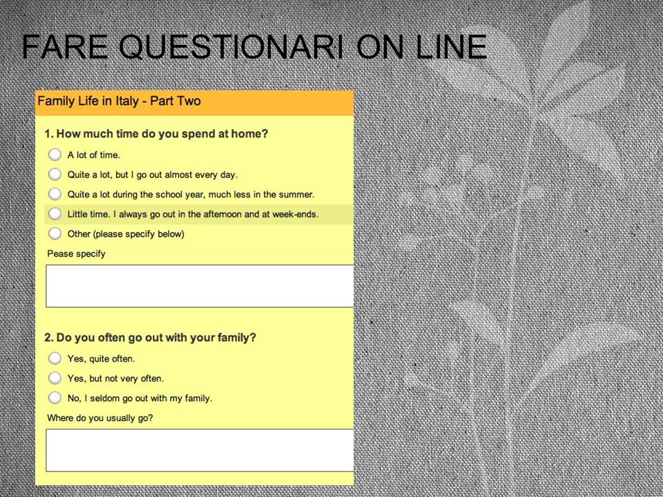 FARE QUESTIONARI ON LINE