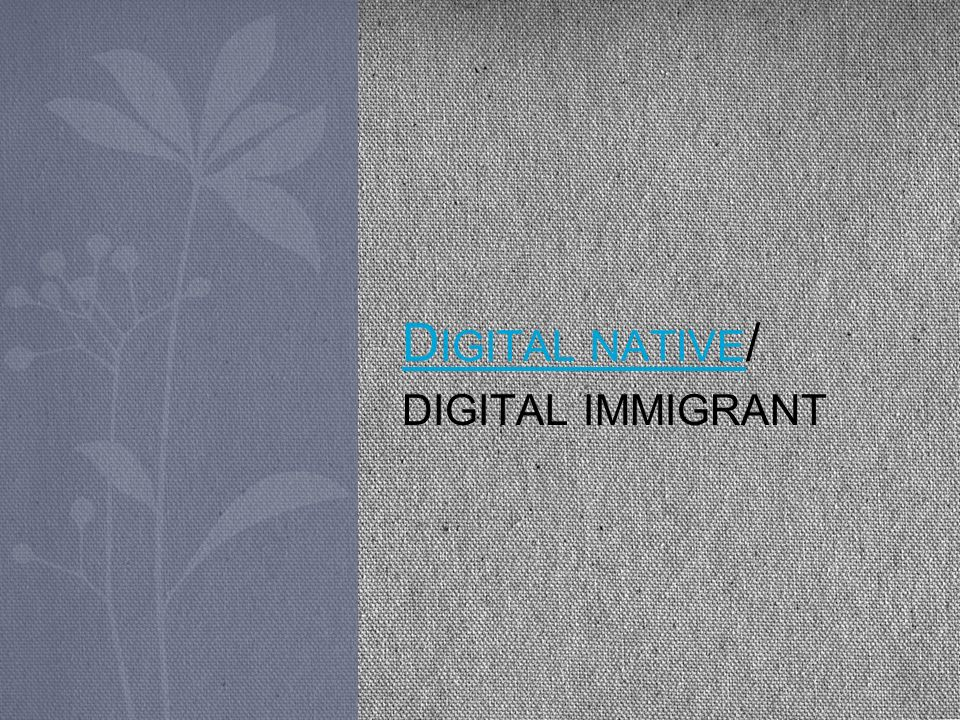 Digital native/ digital immigrant