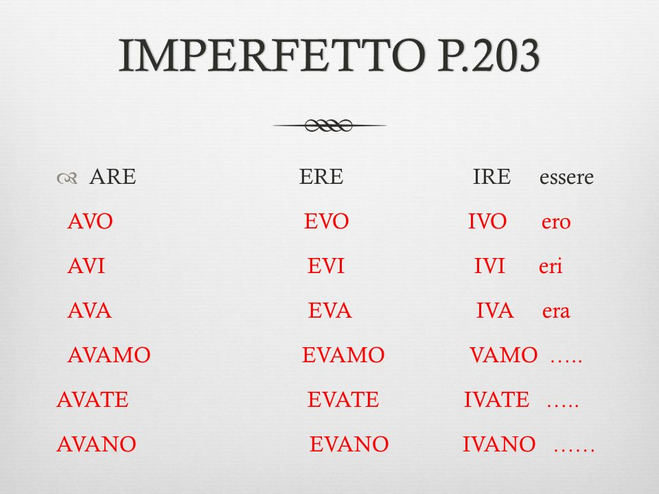 IMPERFETTO P.203 ARE ERE IRE essere AVO EVO IVO ero AVI EVI IVI eri