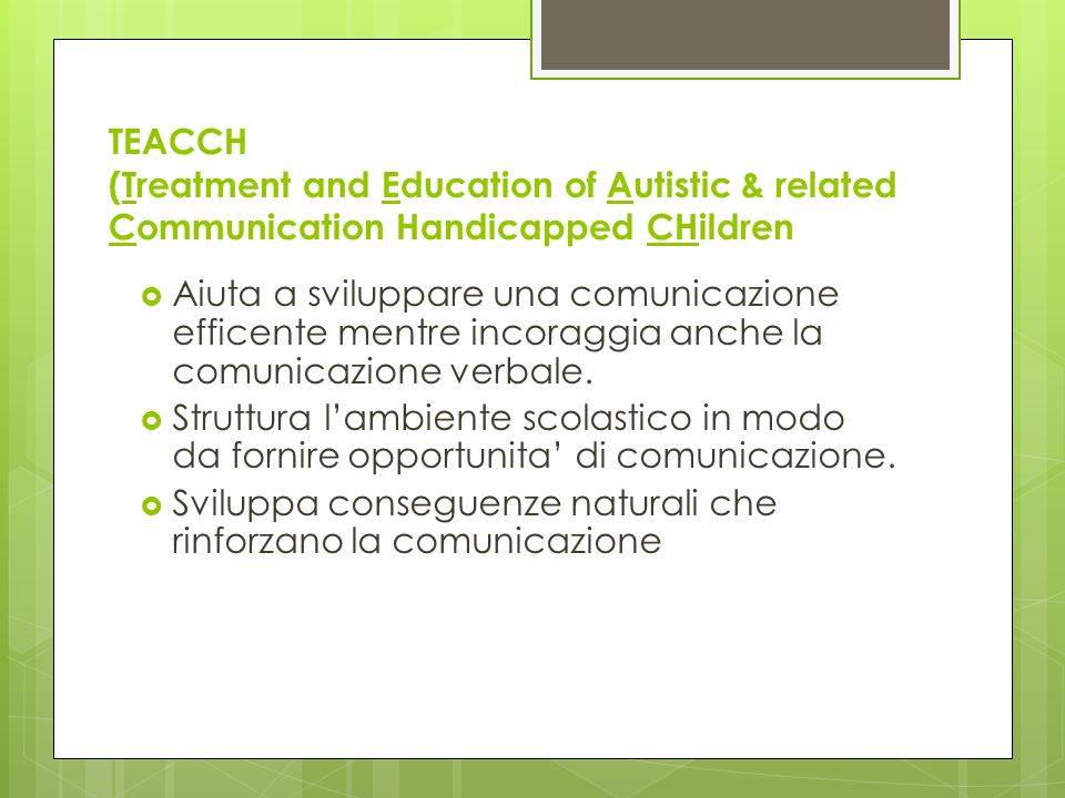 TEACCH (Treatment and Education of Autistic & related Communication Handicapped CHildren