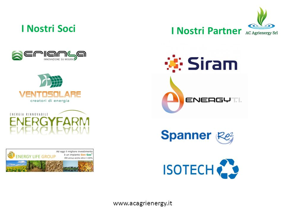 I Nostri Soci I Nostri Partner www.acagrienergy.it