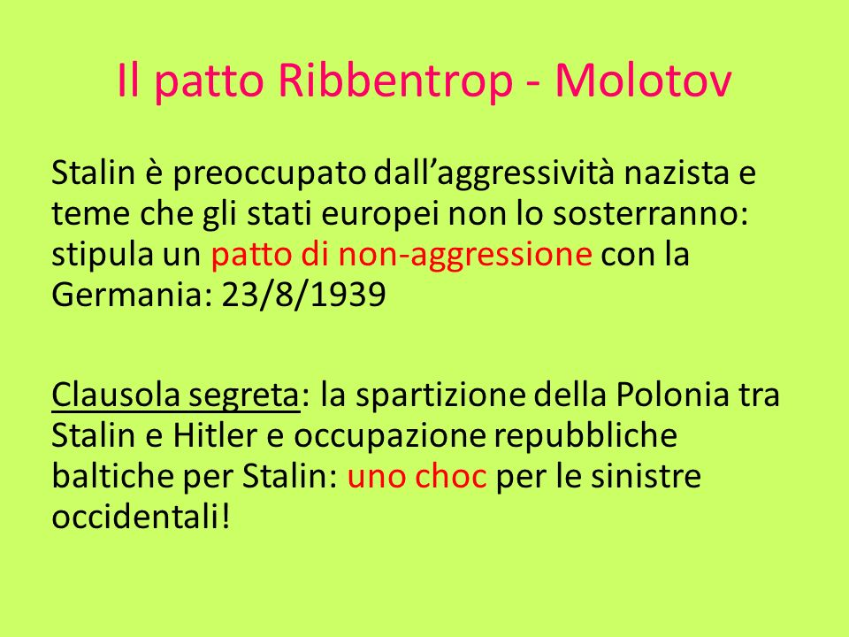Il patto Ribbentrop - Molotov