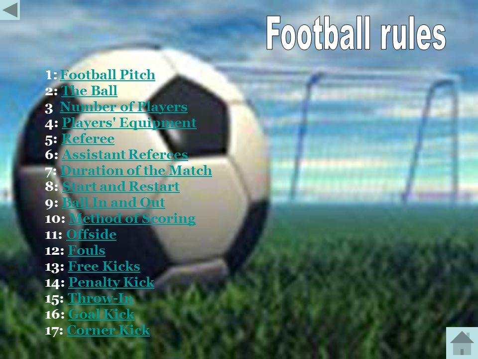 Football rules 1: Football Pitch 2: The Ball 3 Number of Players