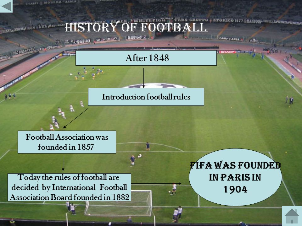 history of football After 1848 Fifa was founded In paris in 1904