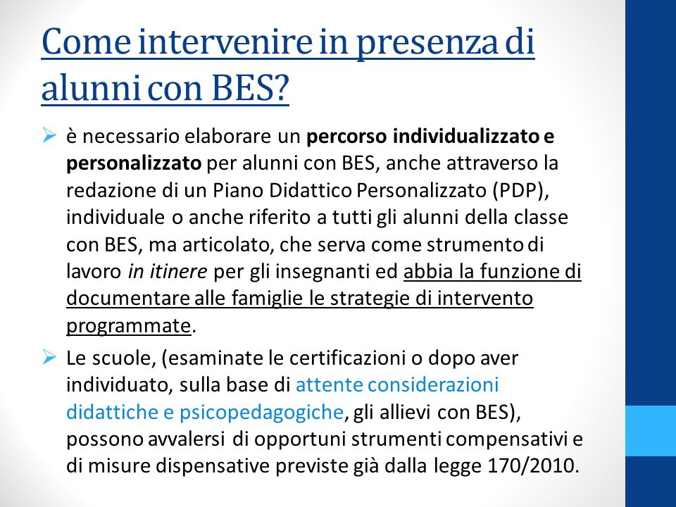 Come intervenire in presenza di alunni con BES
