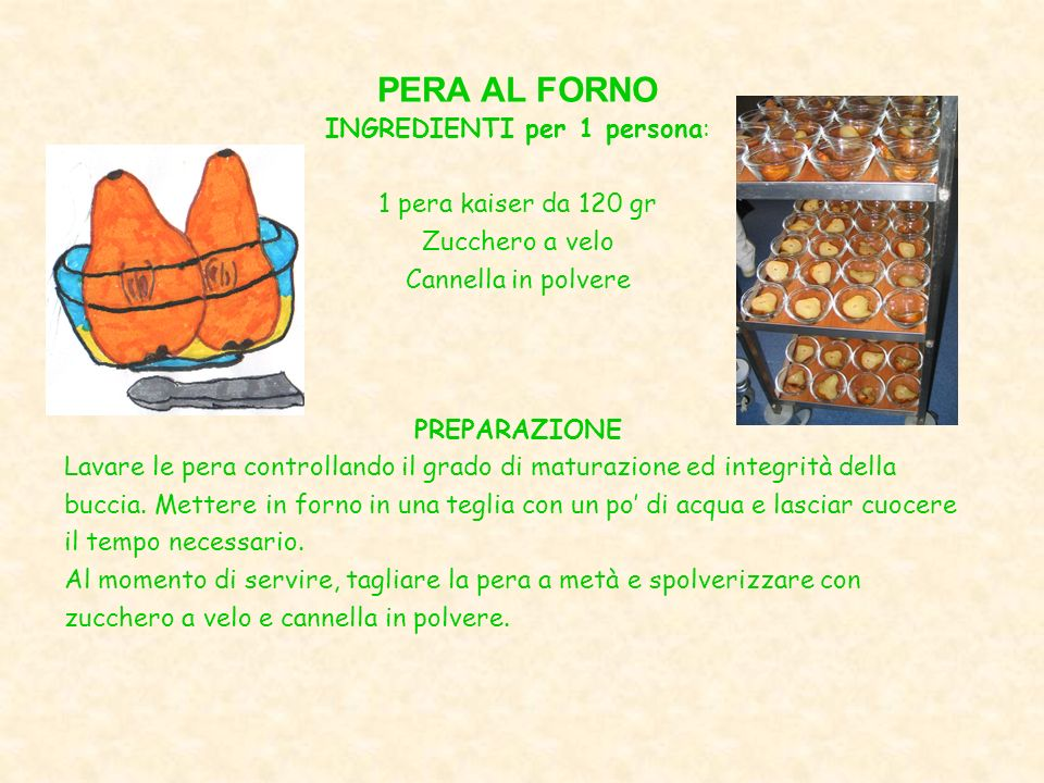 INGREDIENTI per 1 persona: