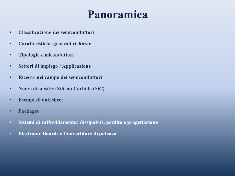 Panoramica Classificazione dei semiconduttori