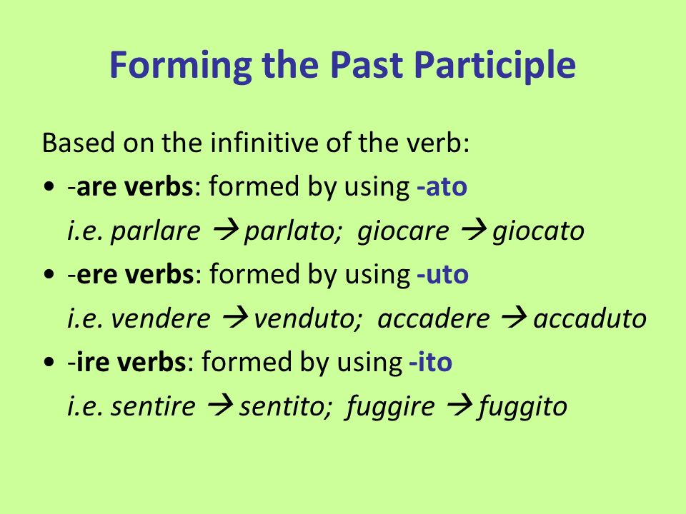 Forming the Past Participle