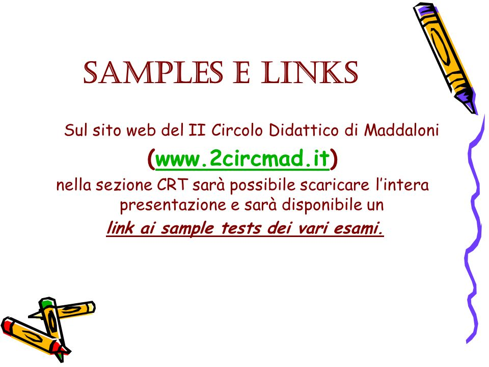 SAMPLES e LINKS (