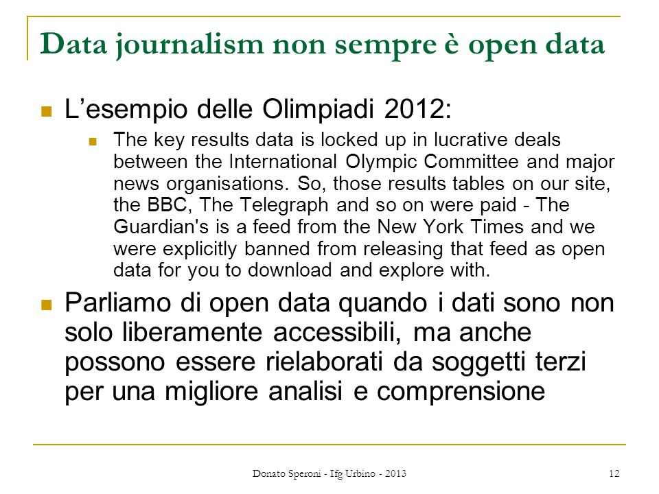 Data journalism non sempre è open data
