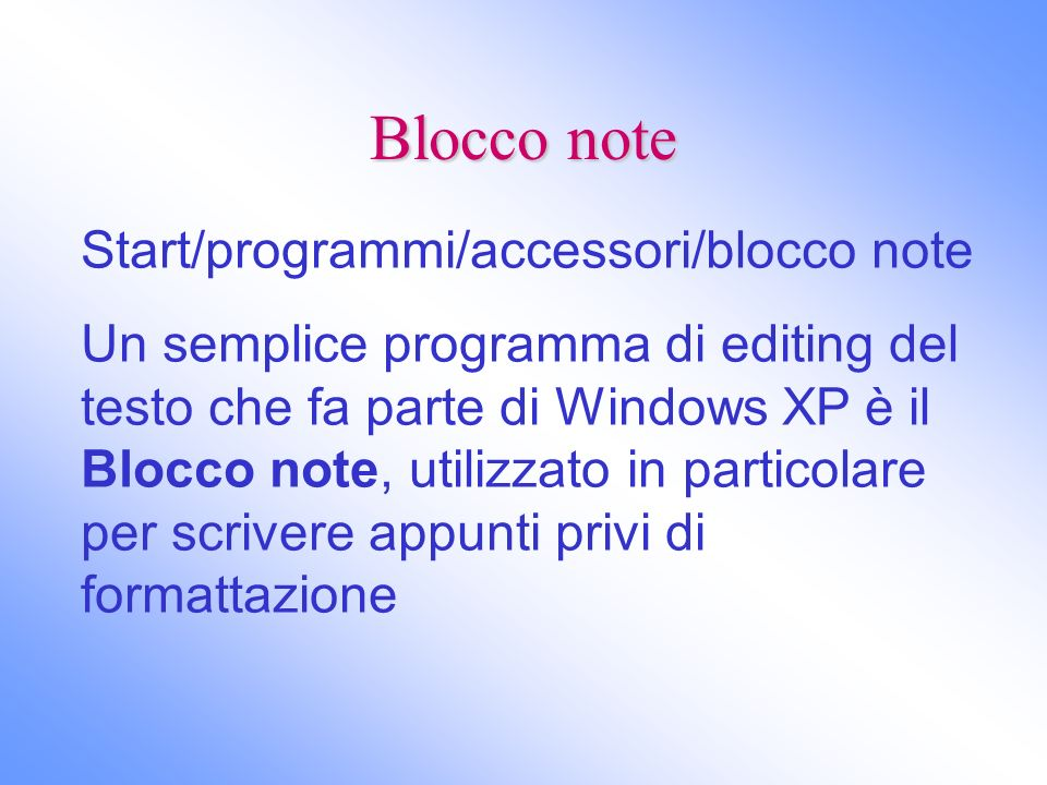 Blocco note Start/programmi/accessori/blocco note